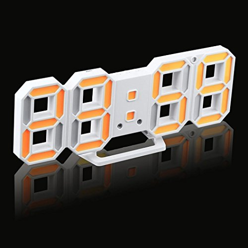 Inverlee Practical Table Desk Night Wall Digital LED Clock Alarm Watch 24/12 Hour Display Home Office Decoration (D)