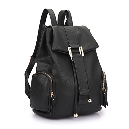 MKY Women College Leather Drawstring Backpack Casual Shoulder Bag Classic Daypack Black by MKY