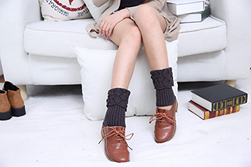 Mujer Acvip trenzados Leggings Leggings punto oscuro Gris de invierno Calcetines Calzado de Cwnw4FqT6