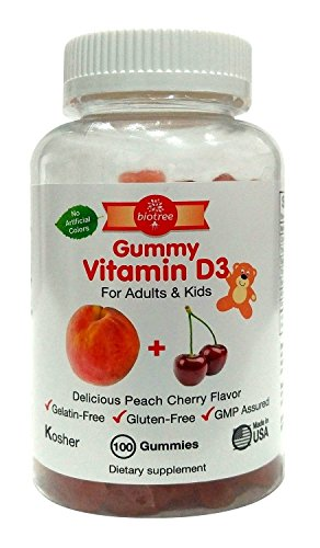 Gummy Vitamin D for Adults & Kids - Delicious Peach Cherry Gummy Bear Vitamin D3 - Kosher Certified Gluten Free No Artificial Colors 100 Count
