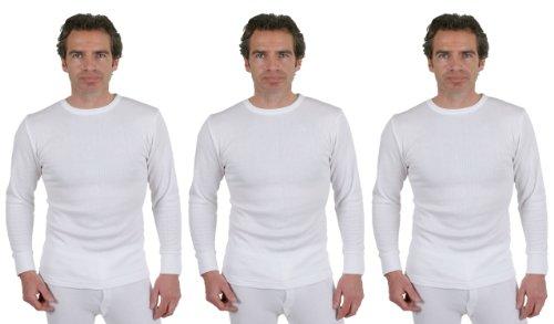 3 Paar Herren-Thermal Unterwäsche, Rundhalsausschnitt, Langarm, Weiß, verschiedene Größen