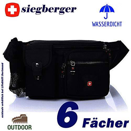 Siegberger Hüfttasche Bauchtasche mit 6 Fächern Handyfach Flaschennetz wasserdicht – ideal für Reise, Urlaub, Wanderung