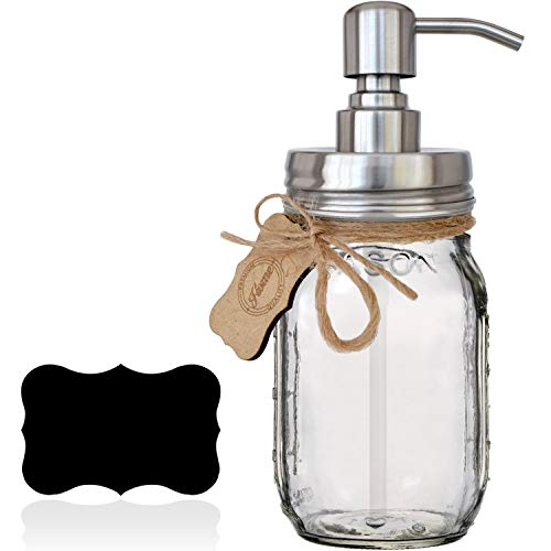 Premium Rustproof Stainless Steel Mason Jar Soap Pump/Lotion Dispenser | Modern Farmhouse | Bonus Chalk Label | 16 oz (Regular Mouth) Glass Mason Jar (Rust Proof Silver) ()