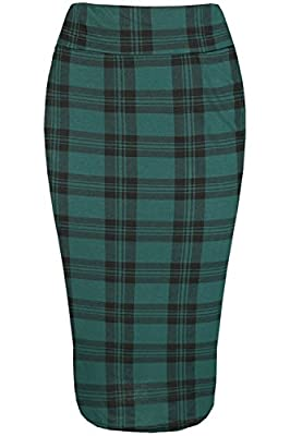 Oops Outlet Women's Elasticated High Waist Wiggle Bodycon Tube Pencil Midi Skirt