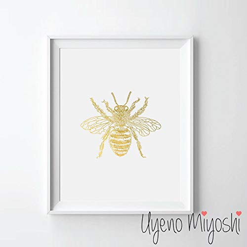 Bee Gold Foil Art Print Vintage Bee Gold Print Home and Office Wall Art Decor Gold Print 08 x 10