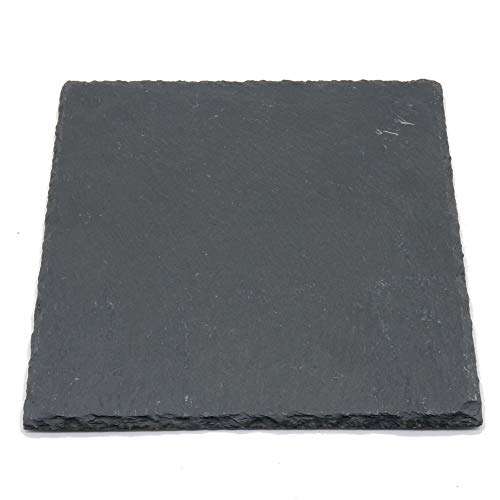 (YCD Ziran Natural Stone food plate black slate cheese board dessert plate Perfect for serving appetizers and gourmet cheeses(2020cm)(Square))