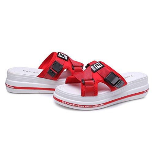 Velcro Sandales Chaussures JRenok Sandales Femme Plateforme élastique Tissu Été Ouvert Bout à Rouge pour Croûte IqOgw