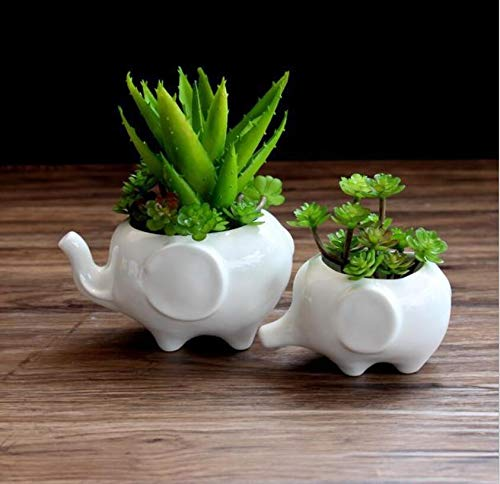 Gugou Kawaii Animals Ceramic Flower Pot 2 Styles Elephant Succulent Planter Cactus Succulent Plants Flower Cute White Pot