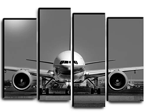 (Big Set Jet Airplane Boeing 777 Wall Art Decor Picture Painting Poster Print on 4 Canvas Panels Pieces - Aviation Aircraft Theme Wall Decoration Set - Wall Picture for Living room Nursery 32 by 44 )