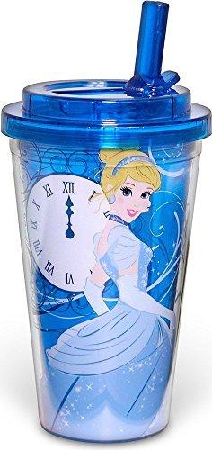 Silver Buffalo DQ9884 Disney Cinderella Fade BPA-Free Plastic Flip Straw Cold Cup, 16 oz., Blue
