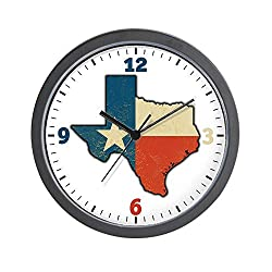BCWAYGOD Texas Flag Texas Shaped Wall Clock Nice for Gift or Office Home Unique Decorative Clock Wall Decor 10in with Frame