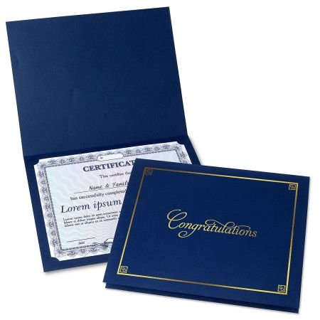 Congratulations Blue Certificate Folder w/Gold Border - Linen Cover Stock - Set of 50, 9-1/2'' x 12'' Folded w/Diecut Corners on 80 lb.