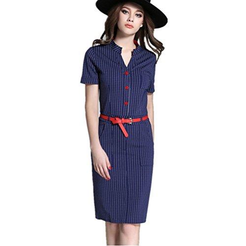 Skirt Dress Package Summer V Blue Step Fashion Hip Plaid Collar Bobbycool fXax00
