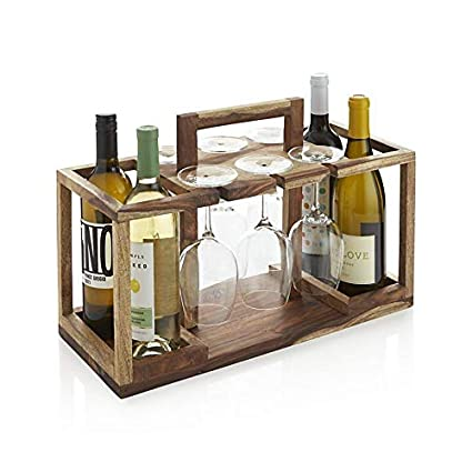 MH Decoart Wooden Stylish Brown Bar Cabinet with Wine Glass Storage