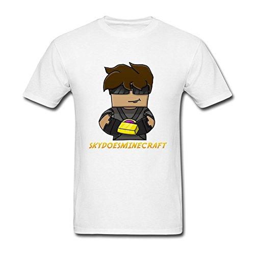 SLJD Men's SkyDoesMinecraft Youtuber Gamer Design T Shirt - Reunion White T-shirt