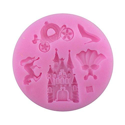 Outflower Pumpkin Car Cinderella Fairy Castle Silicone Fondant Cake Mold Chocolate Mold Random Color