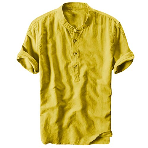 MIUCATMen Tees Summer Cool and Thin Standing Collar Hanging Dyed Gradient Cotton Shirt Slim Fit Comfy Tops Yellow -