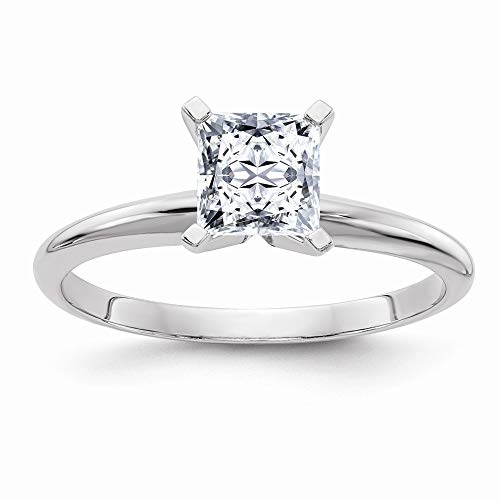 (14k White Gold 1.0 Ct. 5.5mm Colorless Moissanite Princess Solitaire Band Ring Sz6 Size 6.00 Engagement Light Gsh Gshx Fine Jewelry Gifts For Women For Her)
