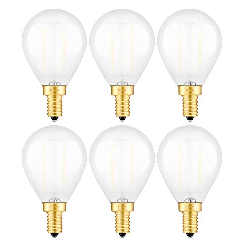 CRLight Dimmable LED Globe Edison Bulb 6W 5000K Daylight White 60W Incandescent Equivalent, Replace 12W Compact Fluorescent CFL Bulbs, E12 Candelabra Base Tiny G14(G45) Frosted Glass LED Bulbs, 6 Pack