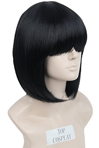[Womens Wig Short Straight Cosplay Halloween Wigs Bob Cut Hair Wig with Bangs(Black)] (Black Bob Wig With Bangs)