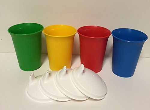 Tupperware 7oz Bell Tumblers (Primary Colors) with Sipper Seals