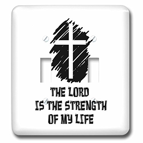 3dRose Alexis Design - Christian - Decorative cross, The Lord is the strength of my life on white - Light Switch Covers - double toggle switch (lsp_286198_2) by 3dRose
