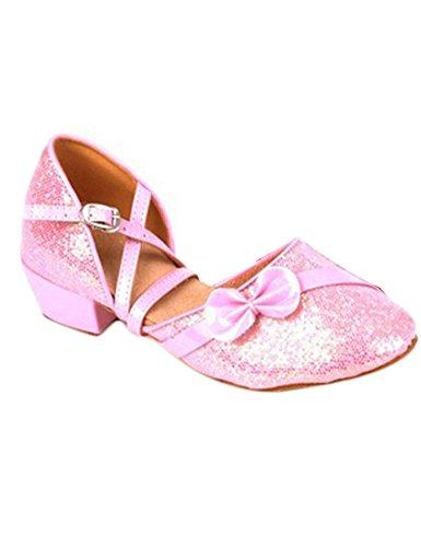 Eden Babe Girl's Paillette Bow Tango Ballroom Latin Dance Sandals(Big Kid 7M,Pink 39)
