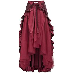 Steampunk Victorian Pirate Skirt Ruffles Bustle Skirt/Cape BP000206-3 S Wine
