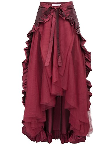 Women Gothic Victorian Steampunk Skirt Bustle Style BP000206-3 XL Wine ()