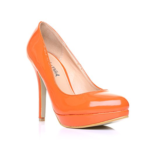 EVE Orange Patent PU Leather Stiletto High Heel Platform Court Shoes nfFo9b
