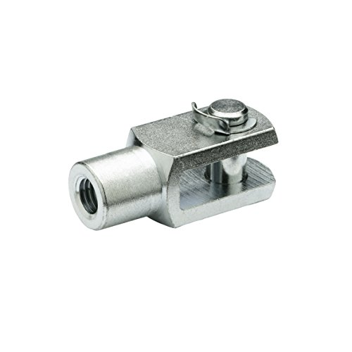 J.W. Winco 160FXS2/CP GN751 Fork Head (Circlip Type), 16 mm Hole Diameter, M16 x 1.5 Right Hand Thread, 32 mm Length from Pin, Steel-Zinc Plated (32 Mm Forks)