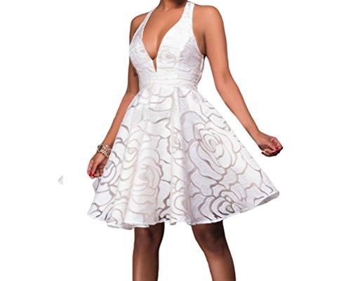 Abba Fancy Dress Outfits (DH-MS Dress Womens white Jacquard Skater Party Dress L)