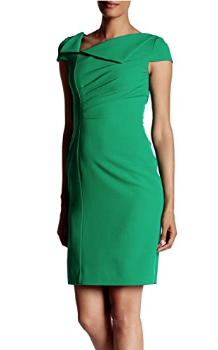 (Tahari ASL Cap Sleeves Foldover Asymmetrical Neck Sheath Dress (12, Emerald Green))
