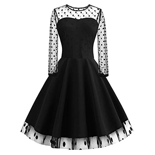 Aniywn Women's Party Dress Ladies Mesh Perspective Long Sleeve Polka Dot Print Dress Elegant Prom Swing Dresses Black