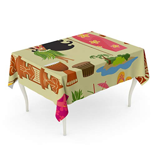 Semtomn Rectangle Tablecloth Hawaii Symbols and Including Hula Dancer Tiki Gods Totem 60 x 90 Inch Home Decorative Waterproof Oil-Proof Printed Table Cloth