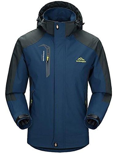 ARRIVE GUIDE Mens Hooded Outdoor Waterproof Jacket Raincoat Softshell Jackets Denim Blue Large -