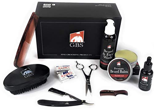 GBS Premium Beard Grooming and Trimming Kit for Men – Deluxe Gift Box – Sandalwood Face & Beard Wash, Wax Butter Balm, Beard Growth Oil, Barber Scissors, Cut Throat Shavette Razor, Combs + DE Blades!