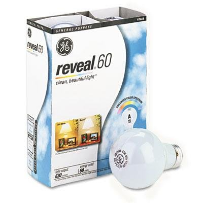Ge 60 watts Reveal A19 Incandescent Bulbs 4 Pack