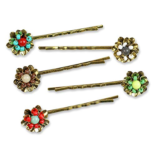 Funky Monkey Fashion Goldtone Bobby Girl and Woman Hair Pin Set   Garden Glam - Pack of 5 piece