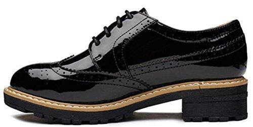 Scarpe Oxford Da Donna, Plateau Casual Satuki Allacciate Scarpe Con Tacco Basso Nere