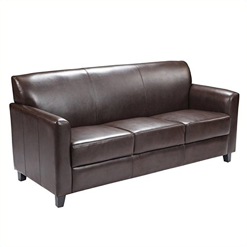 Bowery Hill Diplomat Leather Sofa in Brown