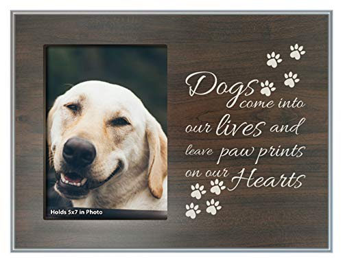 ThisWear Pet Loss Gifts Paw Prints on Our Hearts Dog Memorial Plaque Wood Photo Plaque Picture Frame Wood ()