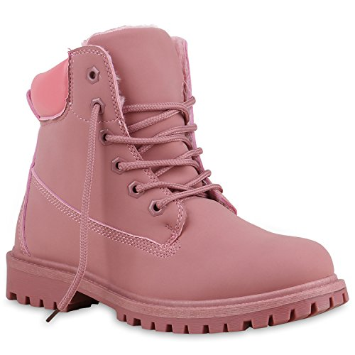 Stiefelparadies Damen Herren Unisex Warm Gefütterte Stiefeletten Outdoor Worker Boots Profilsohle Winterschuhe Camouflage Schuhe Übergrößen Flandell Dunkelrosa