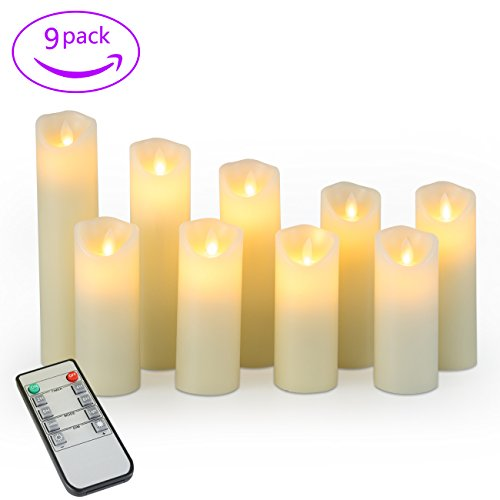 "Remote Control Candles 4"" 5"" 6"" 7"" 8"" 9"" Pack of 9 Dripless Real Wax Pillar Candles by Rommdle with Timer Flickering Remote Control,Ivory"