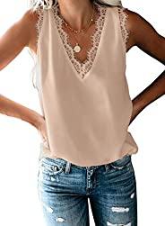 jonivey Women's Button Down V Neck Strappy Tank Tops Casual Sleeveless Chiffon Blouses