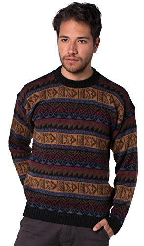 Gamboa – Alpaca Round Neck Sweater for Men – Dark Tones
