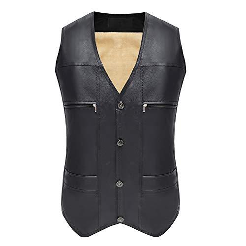 L&W Middle-Aged Vest Men Plus Velvet Thick Warm Cotton Vest Photography Fishing Multi-Pocket Leather Jacket Autumn Winter,XXL ()