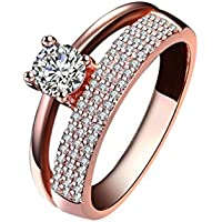 Rings for Women,AutumnFall Women Fashion Zircon Rose Gold Diamond Cylindrical Rings 2017 New (Rose Gold, size 10)