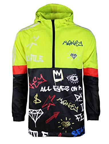 SCREENSHOTBRAND-S51801 Color Block Lightweight Graffiti Print Neon Windbreaker Jacket-Neon Yellow-XLarge