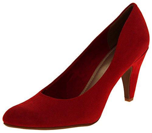 Mujer Marco Tozzi Zapatos medios de la corte de los talones del ante del faux Rojo